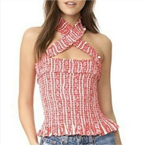 Cinq a Sept Red High Neck Halter Top Size S
